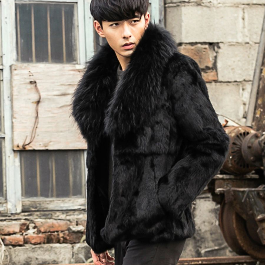 Click To Buy Cr085 Men S Genuine Rabbit Fur Coats Real One Fur Jackets Outerwear Black Color With Big Raccoon Fur C Fur Coat Rabbit Fur Coat Fur Collars [ 898 x 900 Pixel ]