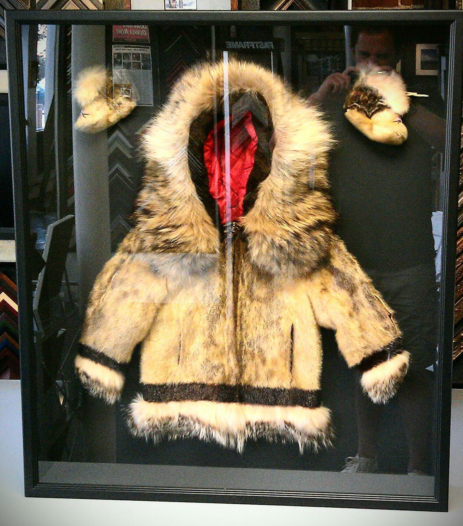 Child\'s Alaskan parka and boots custom framed shadow box. This has ...