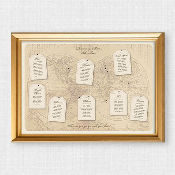 antique chic world map wedding seating chart with luggage tags - printable seating charts