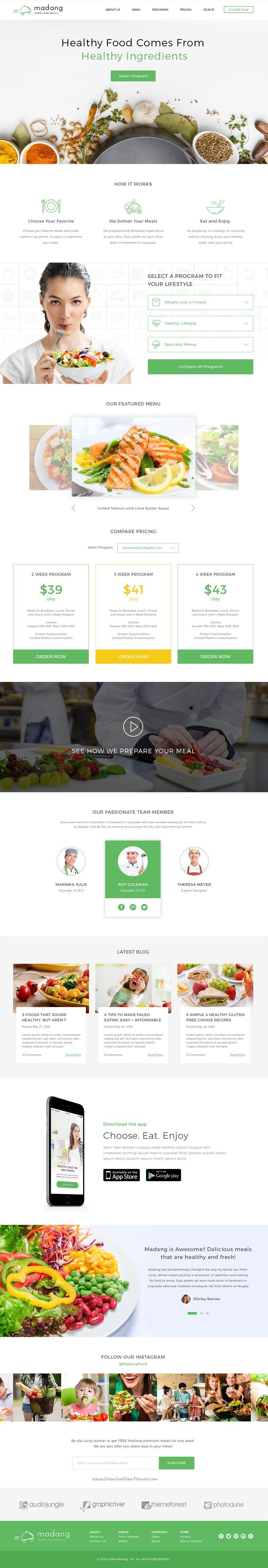 Madang - Healthy Food Delivery PSD Template | Plantilla de sitio ...