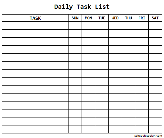 Daily Task List Template For Work Printable Weekly Task Checklist Format Task List To Do Lists Printable List Template