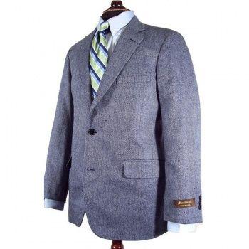 619b9868db1 Southwick Sport Coat - Silk Linen & Cotton - Blue Herringbone (95554E)