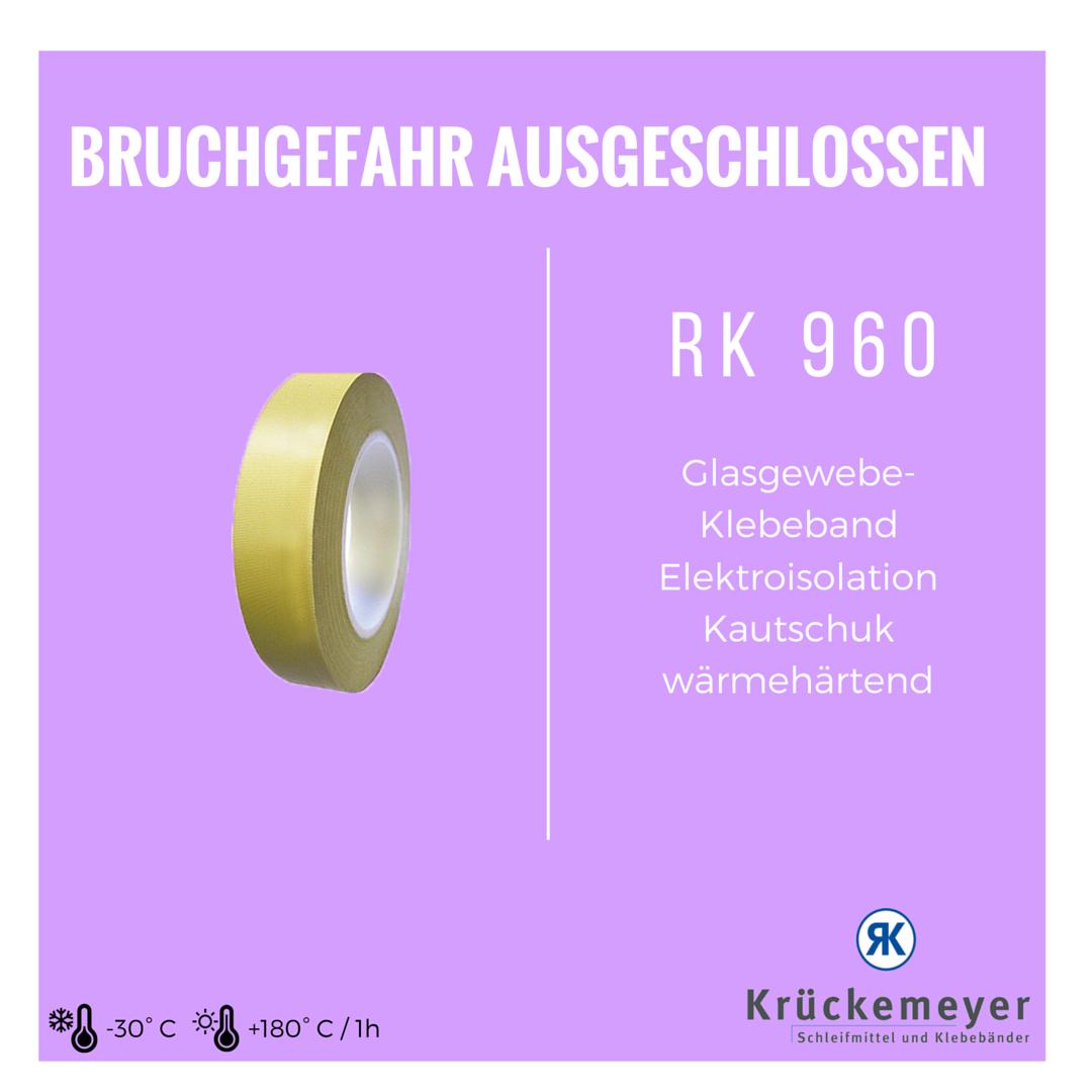RK 960 - Glasgewebe-Klebeband für Elektroisolation - Kautschuk - Wärmehärtend #Krueckemeyer #Klebeband #Adhesive #Tape #Glas #Gewebe #Elektro #Isolieren #Wärme