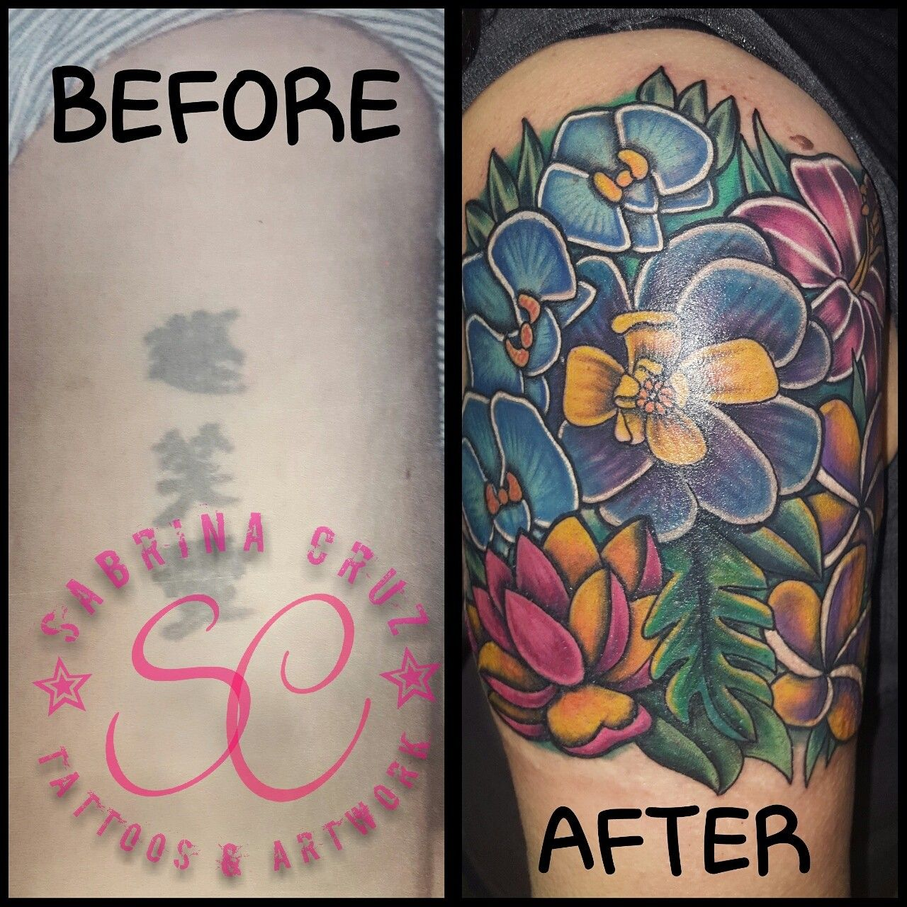 Floral coverup tattoo. Artist Sabrina Cruz @sabrinacruz005 ...