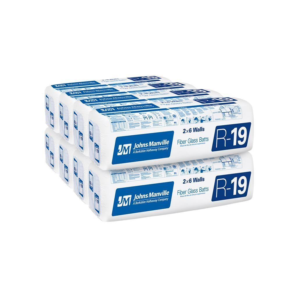 Johns Manville R 19 Unfaced Fiberglass Insulation Batt 19 In X 48 In 8 Bags Fiberglass Insulation Insulation Home Depot