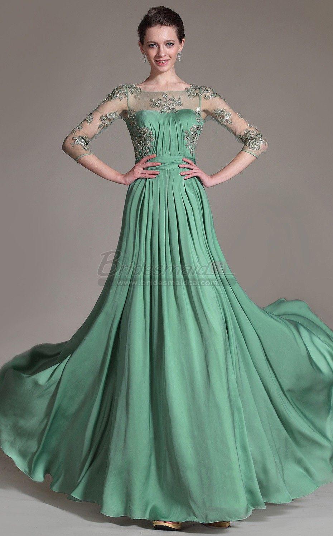 Green bridesmaids dress  Long Chiffon  Lace Green Bridesmaid Dress with Long Sleeve JT