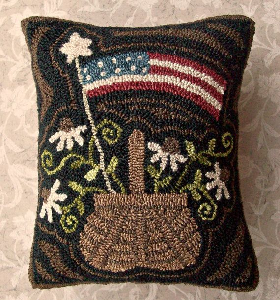 Primitive Needle Punch Pillow Americana Basket By Thetalkingcrow Craftsrug Hooking Patternsrug