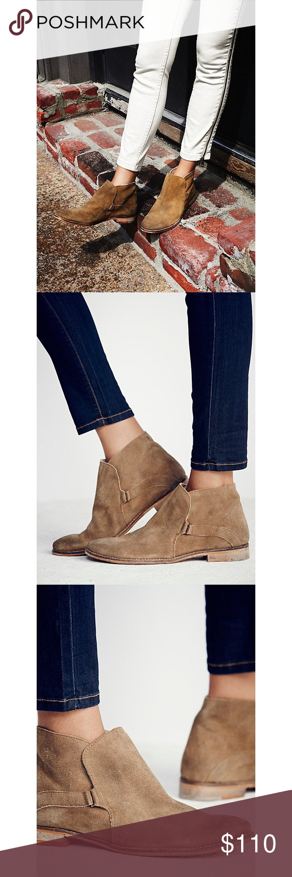 New Tan Free People Distressed Summit Ankle Boots NIB Authentic Brand New with Box! New Tan Festival Free People Women's Distressed Suede Summit Ankle Boots Size 40  Summit Ankle Boot Style: 36788537  Vintage inspired distressed suede ankle boots, that have been individually hand washed to achieve a worn-in look and feel. Easy slip-on surplice design with hidden elastic gusset. Each pair will vary due to the hand washing technique used.  Size: 40 Free People Shoes Ankle Boots & Booties