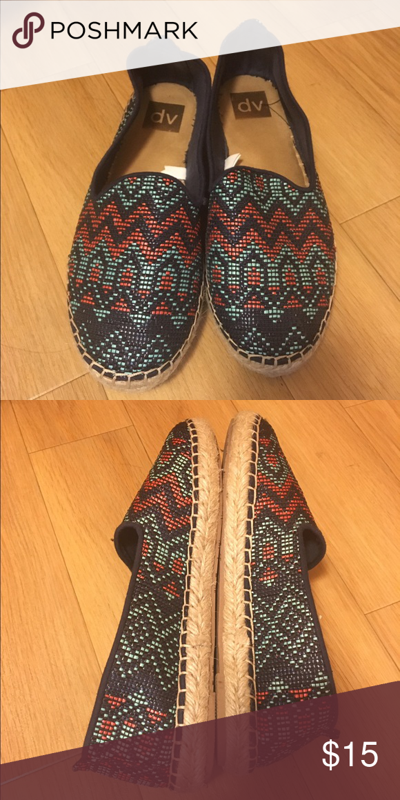 Pattern Espadrille Flats Fun espadrilles. Very comfortable. Worn once as I also purchased a solid color pair at the same time and preferred those for everyday use. Accepting private & reasonable offers. DV by Dolce Vita Shoes Espadrilles
