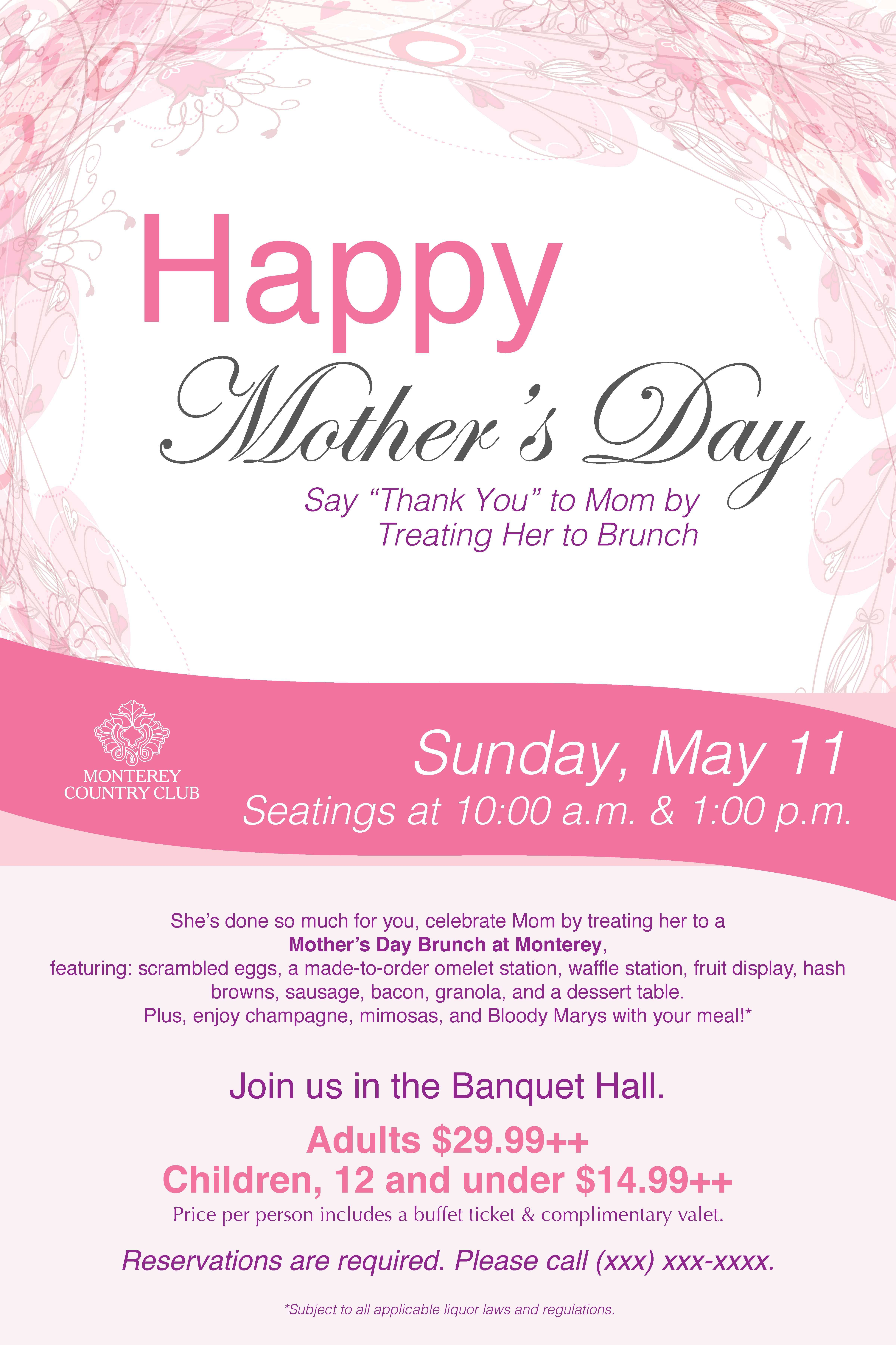 mother s day brunch poster flyer template mothers day pinterest