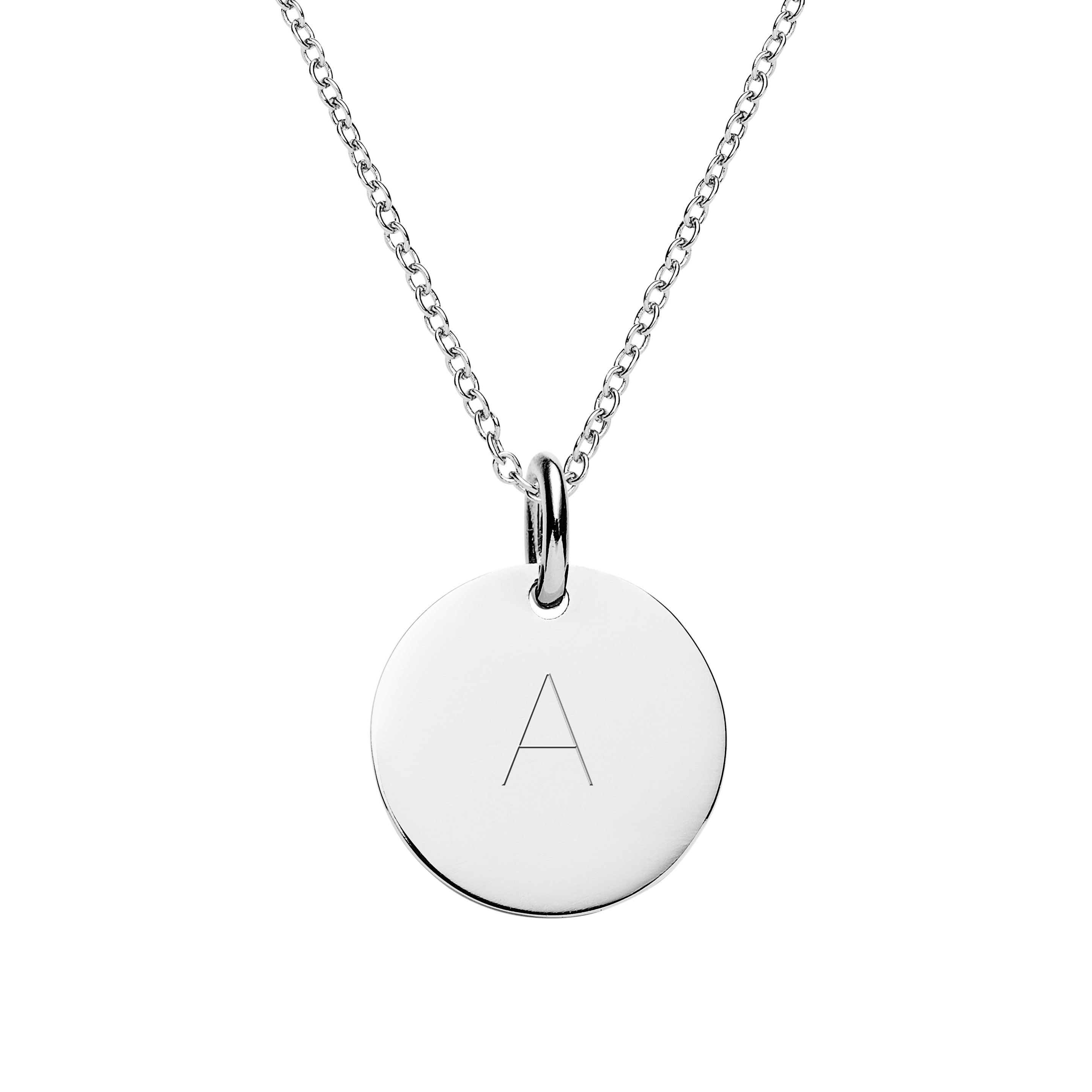 Engraved silver disc necklace personalised jewellery initial