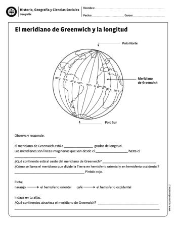 El Meridiano De Greenwich Y La Longitud Ciencias Sociales Ensenanza De La Geografia Actividades De Geografia