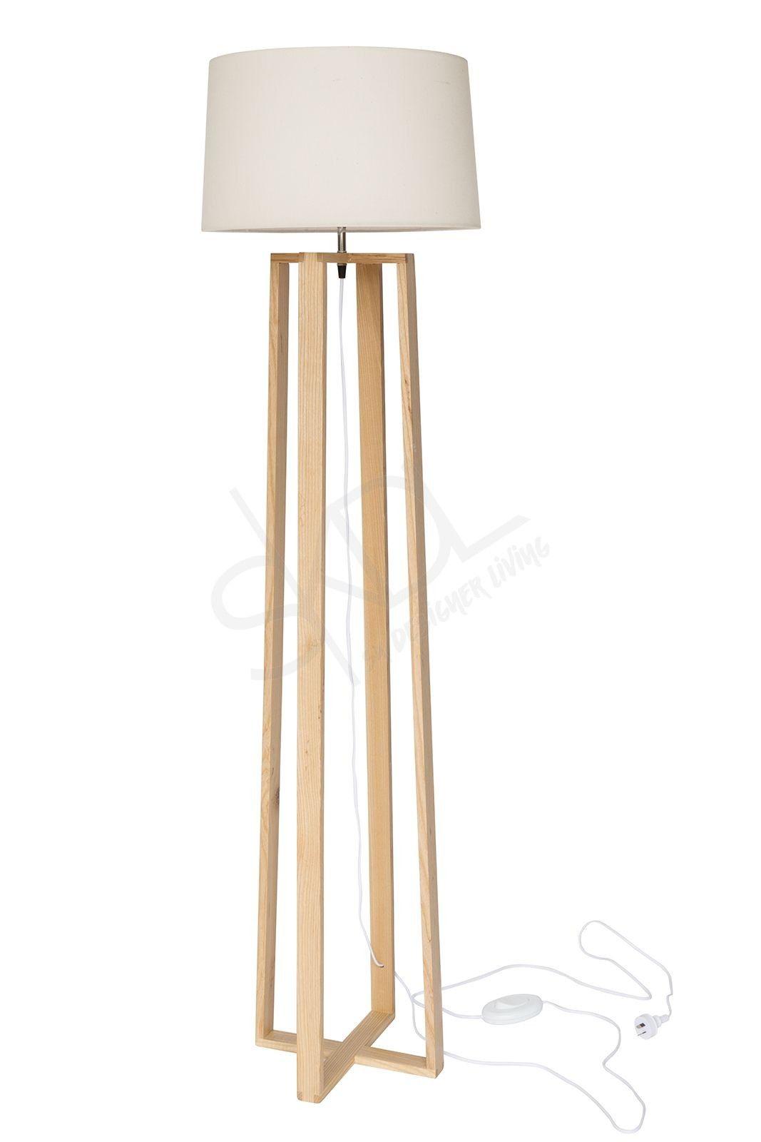 Max Scandinavian Floor Lamp Natural Wood Tripod Ivory Shade Scandinavian Floor Lamps Wood Floor Lamp Wooden Floor Lamps