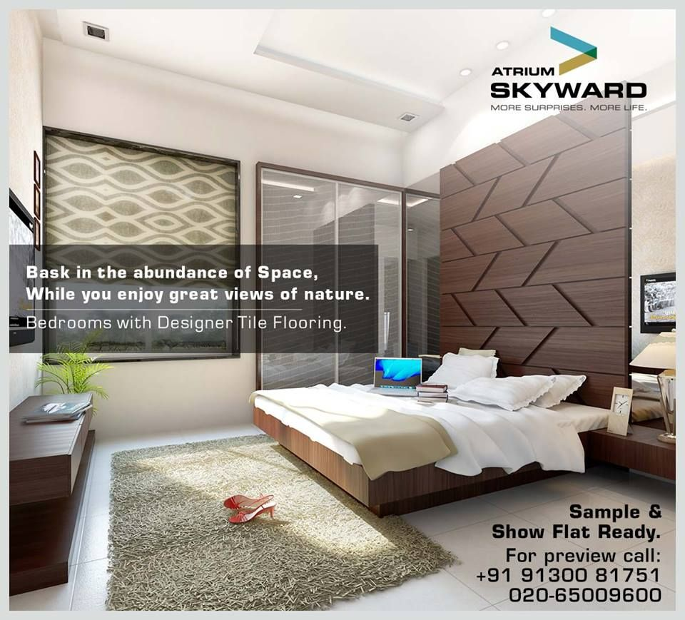 Bedrooms with designer tile flooring.  Atrium Skyward - Lifestyle apartments Opp. Bishop's School, Near NIBM, Undri, Pune.  A project by Atrium Homes.  Sample & Show Flat Ready.  You can call and mail us at the below given details: sales@atriumhomes.in +91 91300 81751 020-65009600  www.atriumhomes.in
