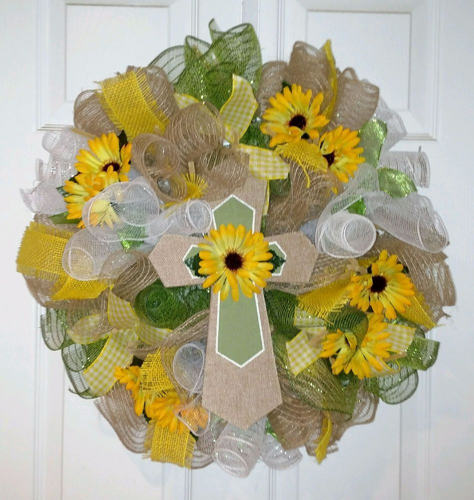 SPRING EVERYDAY DECO MESH BURLAP WREATH Free Shipping
