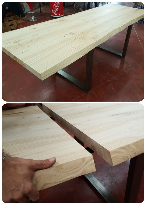 Tavolo da cucina in legno massello di castagno, allungabile con 2 ...