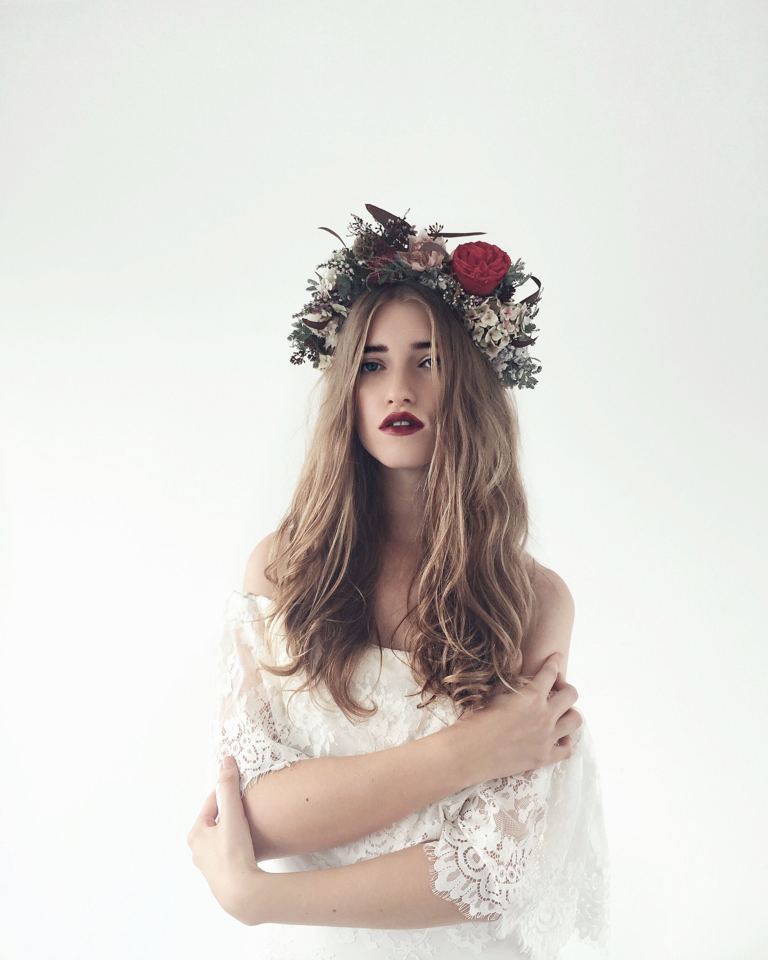 boho bride, flower crown, loose wavy hair, wedding hair styles ...