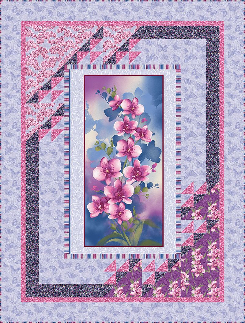 Check Out Our Free Orchid Harmony Quilt Pattern Using The Collection Orchid Shadows By Dover Hill Studio Flower Quilts Picture Quilts Panel Quilt Patterns