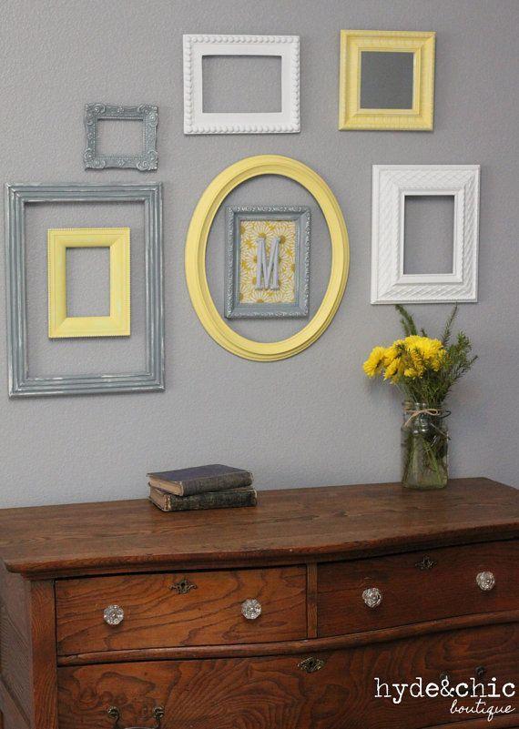 Baby Nursery Decor Wall Letter Monogram Frame Yellow And Grey Customizable