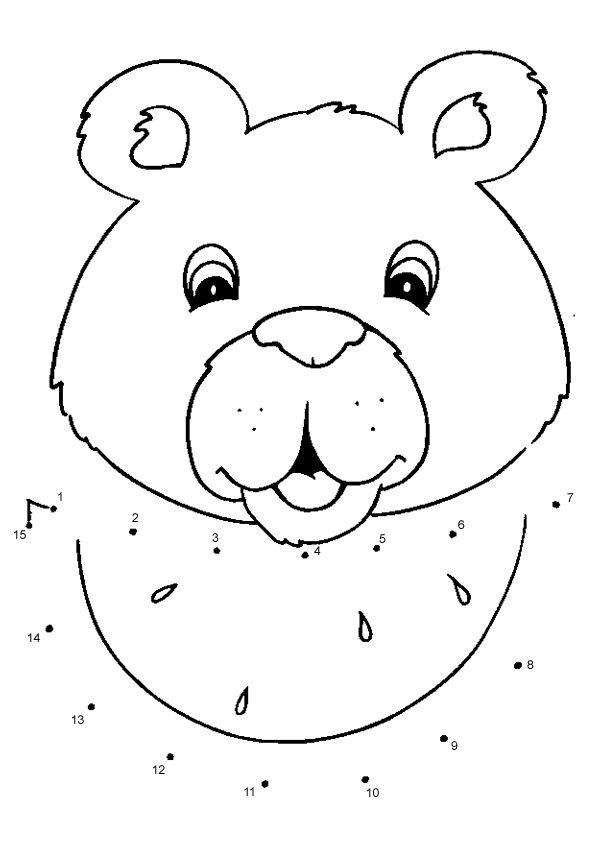 Free Online Printable Kids Games - Smiling Bear Dot To Dot ...