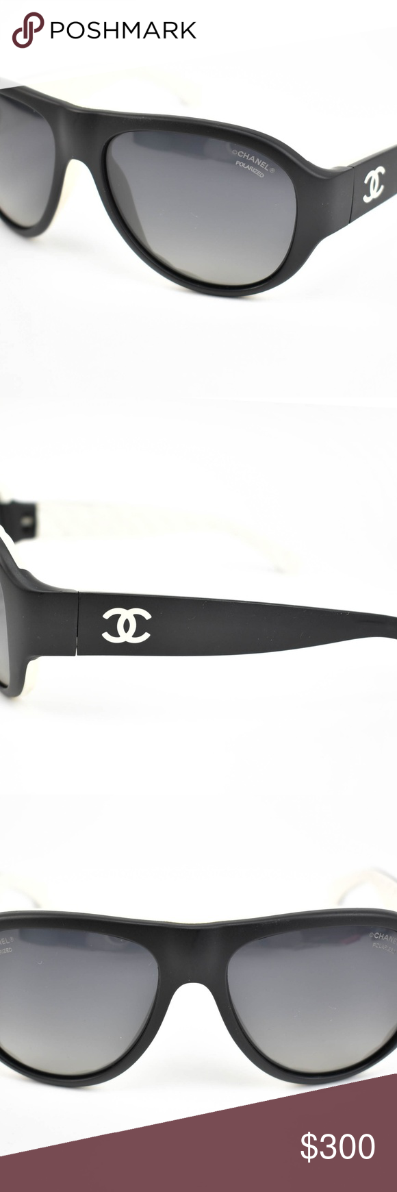 2504b3fcd20 CHANEL Black White CC Logo Mirrored Sunglasses xu pre-owned (zoom photos)