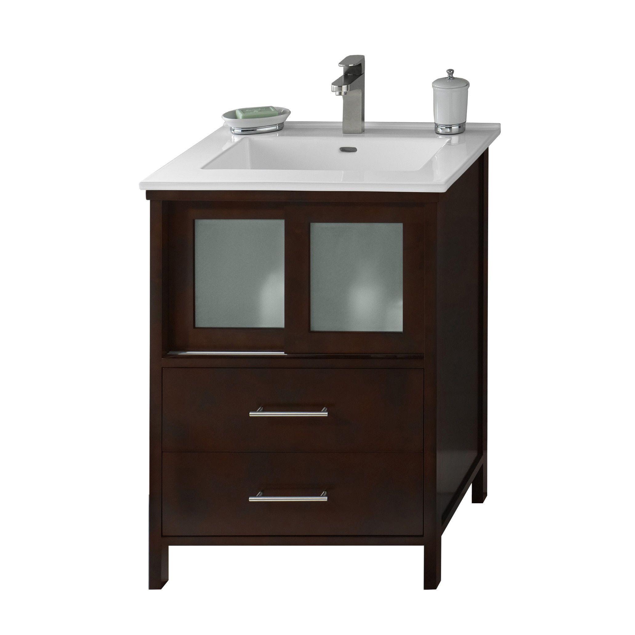Minerva bathroom tops minerva - Ronbow Minerva 24 Inch Dark Cherry Bathroom Vanity Set With White Ceramic Sink Top
