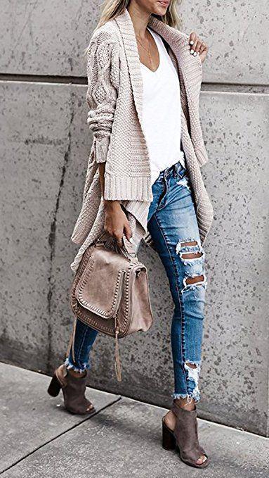 Women Fashion Weave Knit Long Sleeve Open Front Sweater Cardigan Outerwears
