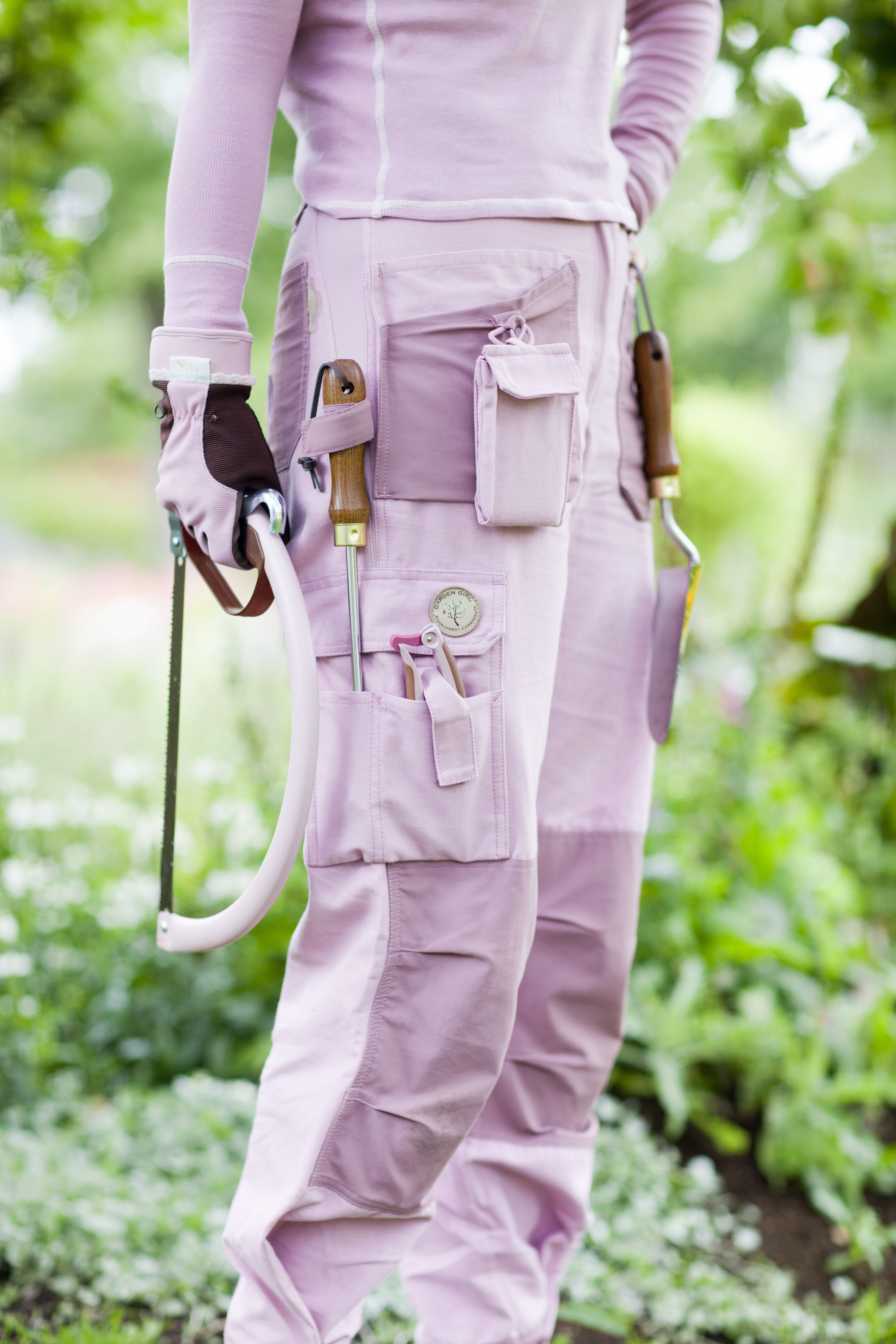 Garden Girl Pink Pants with Tools