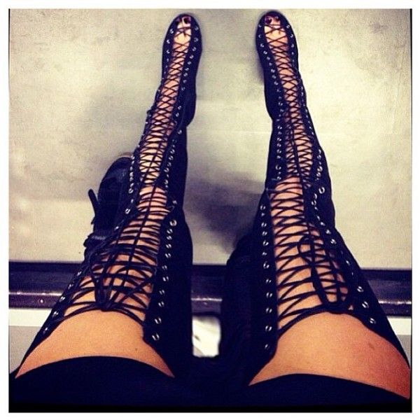 Online Shop 2013 Hot Sale New Sexy Open Toe Lace Up Black ...