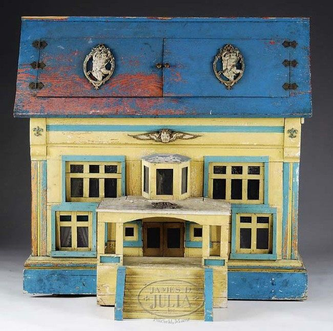 Dollhouse   German Wood 2-Story 2 Rooms Porch Bay Window