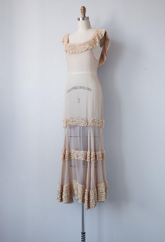 RESERVED vintage 1930s gown / vintage 1930s dress / vintage cream ...