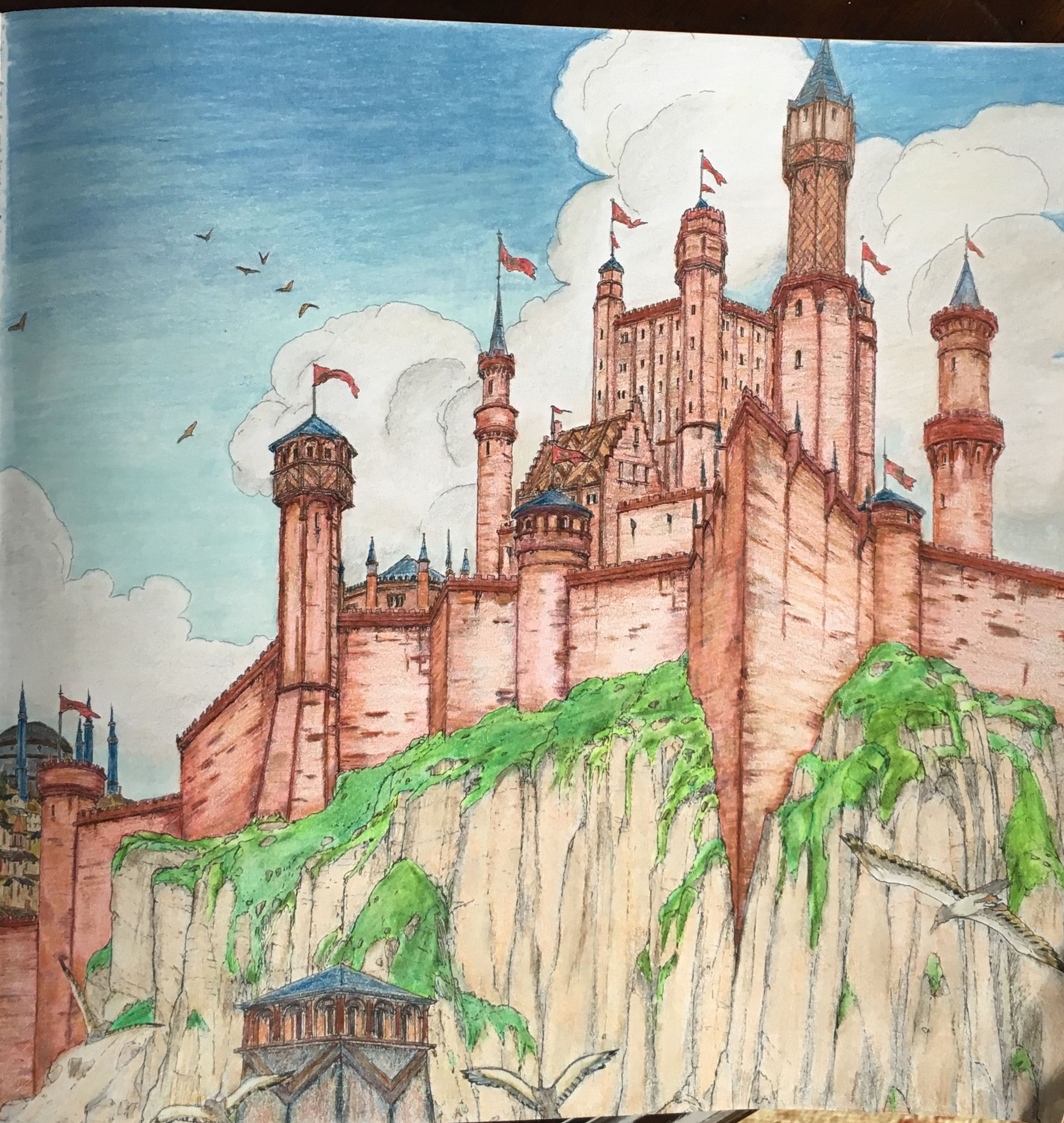 Adult coloring book game of thrones - The Red Keep From The Game Of Thrones Coloring Book