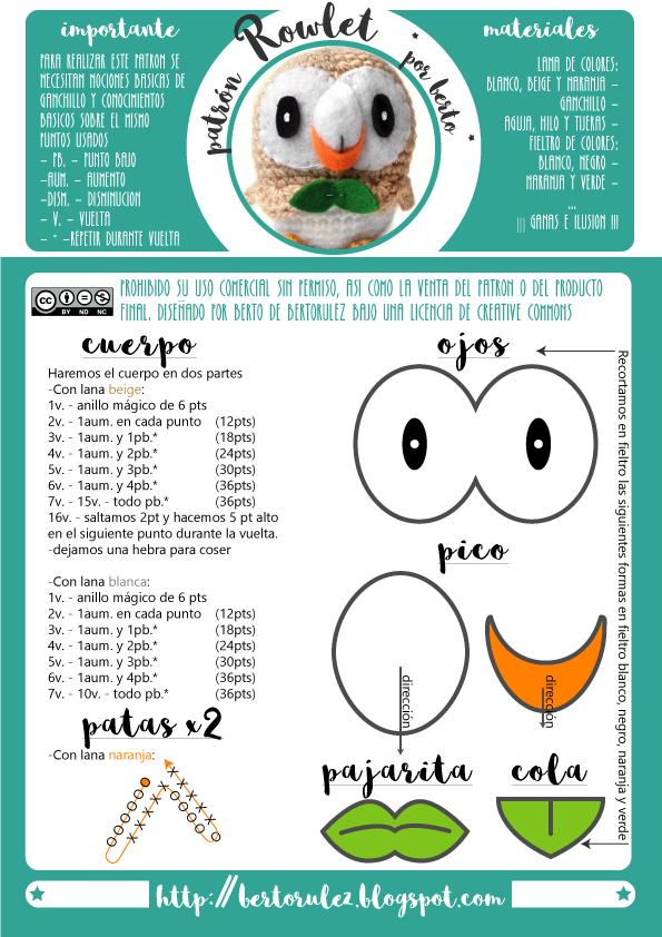 patron-rowlet.png (595×842) | Crochet | Pinterest | Patrones ...