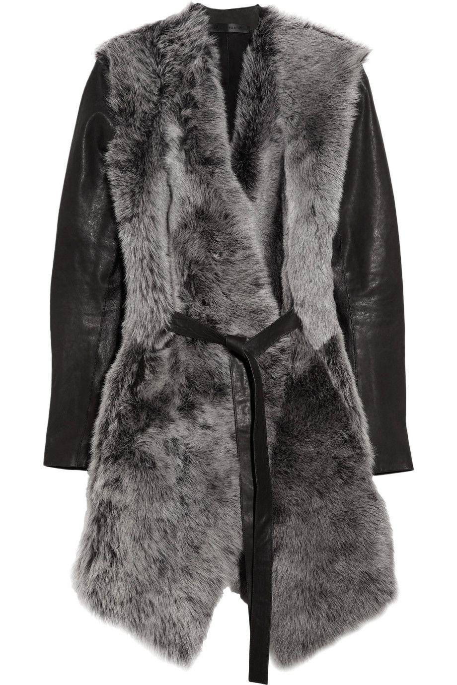 AMAZING. Aminaka Wilmont   Leather-sleeved shearling wrap coat ...