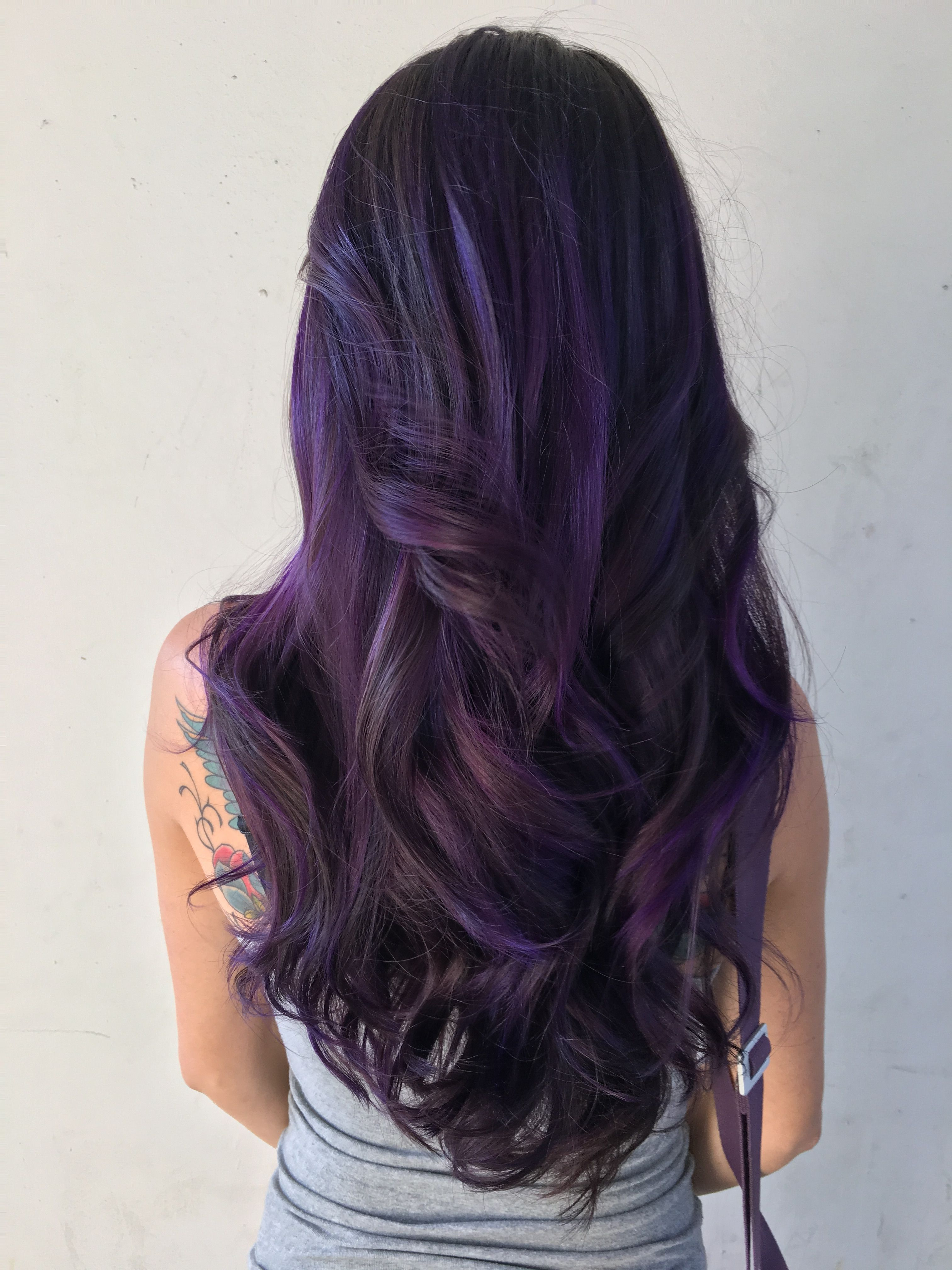 Purple hair, dark violet hair, mermaid hair, unicorn hair, galaxy hair, smoky hair, balayage, hair painting