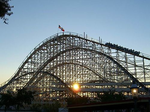 Texas Cyclone wooden roller coaster opened at Six Flags