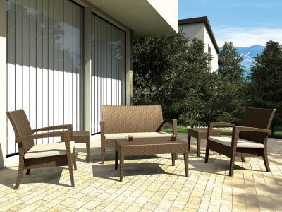 Design Gartenmöbel Lounge Set MIAMI, Vollkunststoff in Rattan
