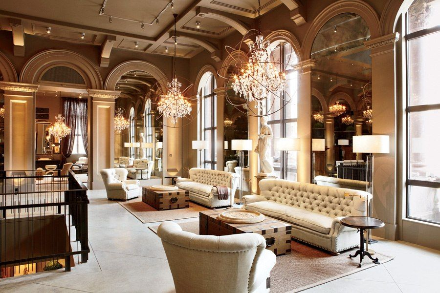 Restoration Hardware S Boston Flagship Store Opens In A Historic Building Living Room Furniture Layout Restoration Hardware Hall Interior