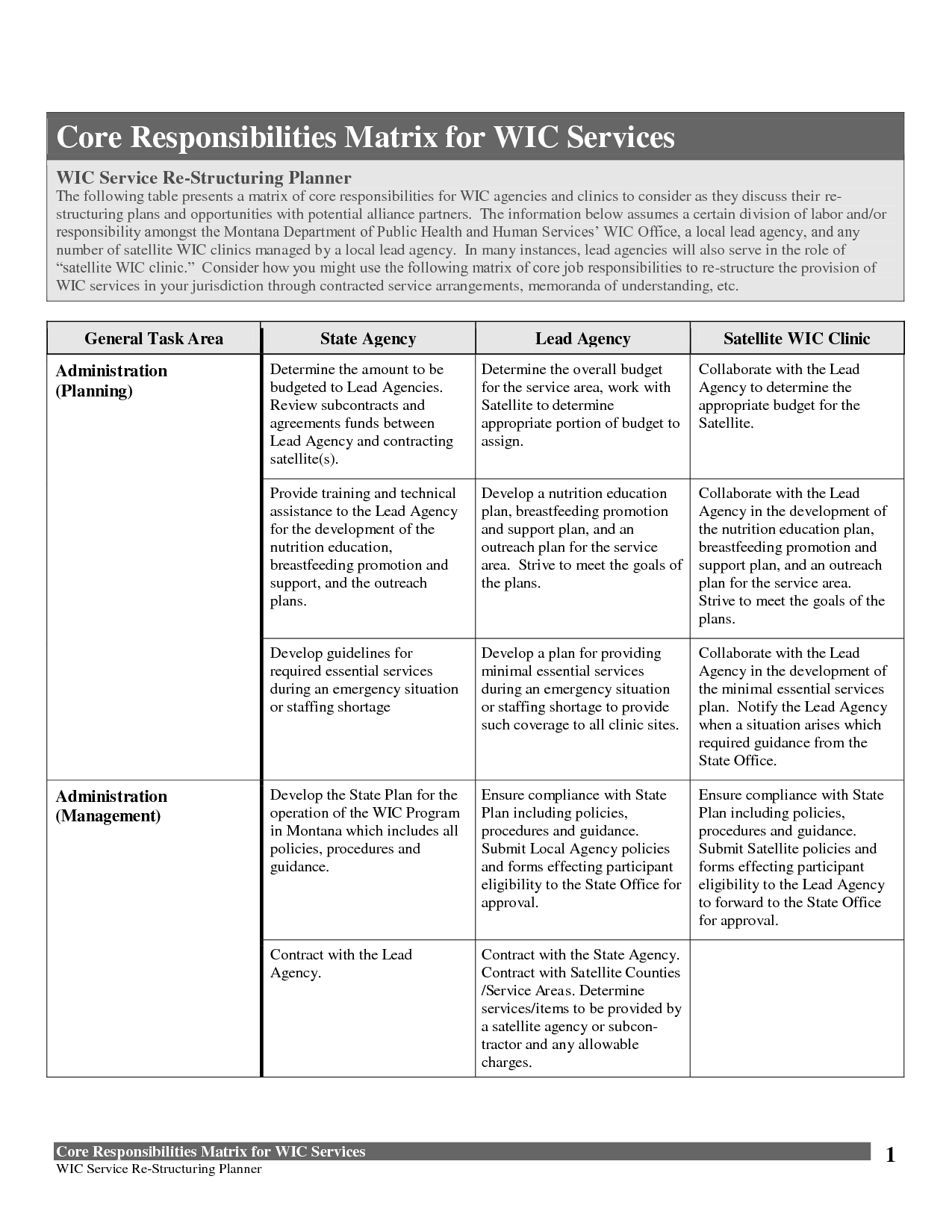 Table Of Responsibilities  Core Responsibilities Matrix