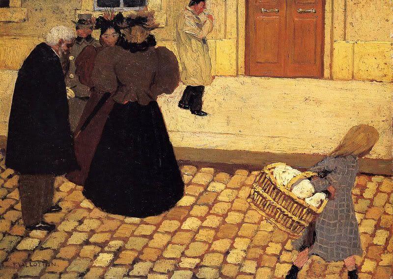 Street Scene, Felix Vallotton. French Nabi Painter, born in Swiss (1865 - 1925)