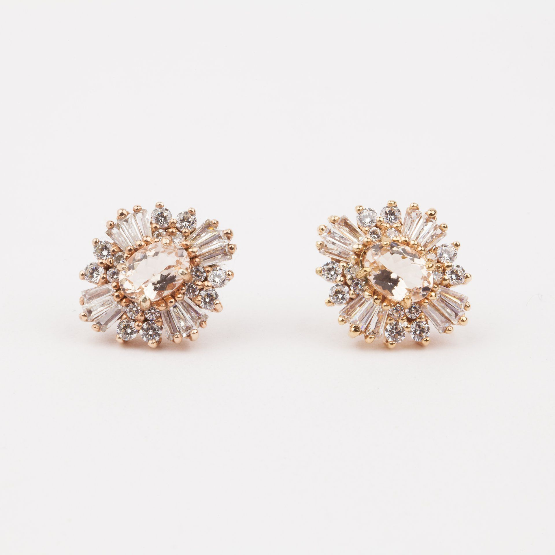 Victoria romantic cluster earrings cluster earrings peach and