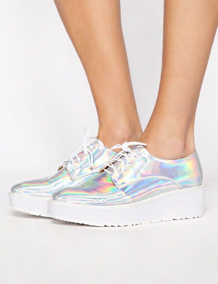 ab8e63ae6e77 Holographic Brogues Platform Hologram Shoes Pixiemarket Oxfords US 8 EU 38   Pixiemarket  Oxfords