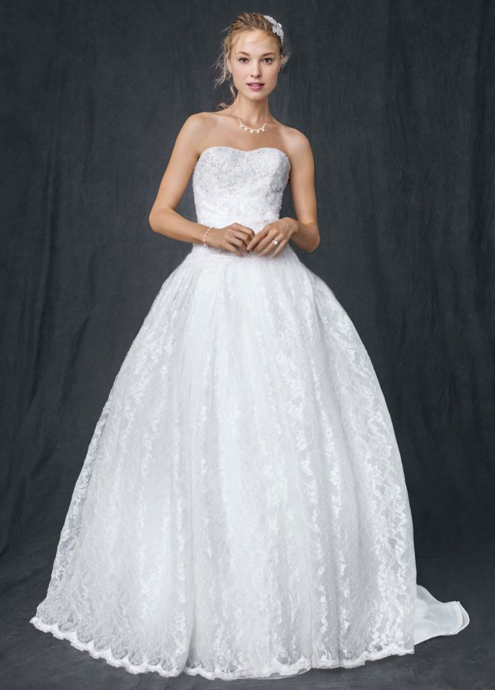 Davids Bridal Sample Strapless All Over Beaded Lace Ball Gown