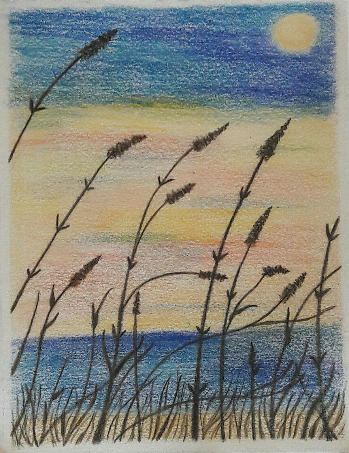 Seaside sunset colored pencils sketch