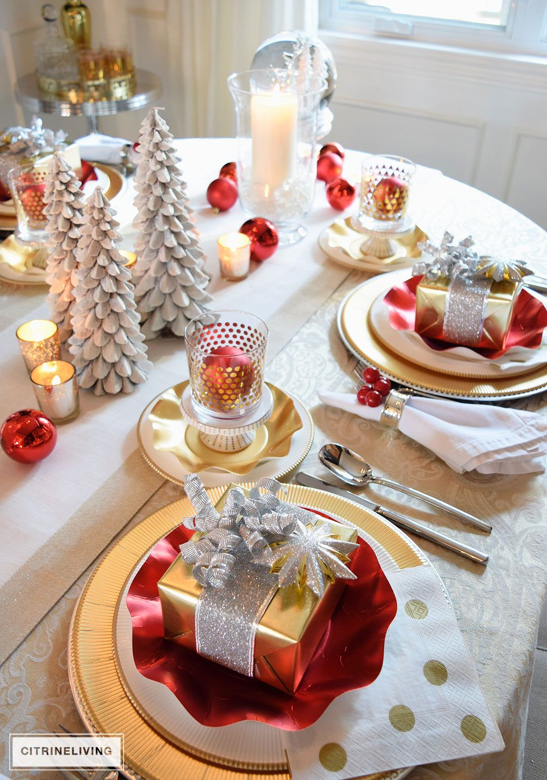Red White And Gold Holiday Tablescape With A Twist Gold Holiday Tablescape Gold Christmas Decorations Red Christmas Decor