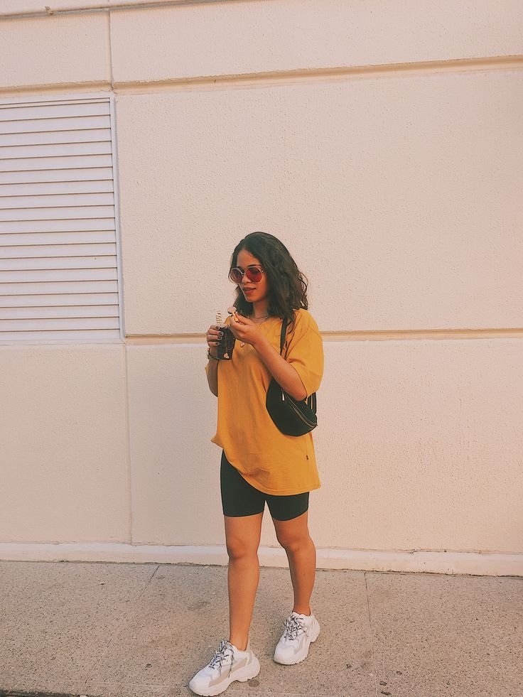 yellow biker shorts outfit