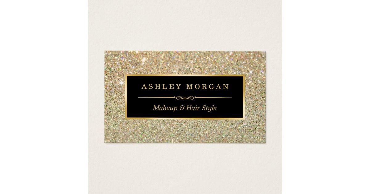 Makeup Artist Hair Stylist Funky Gold Glitter Business Card | Gold ...