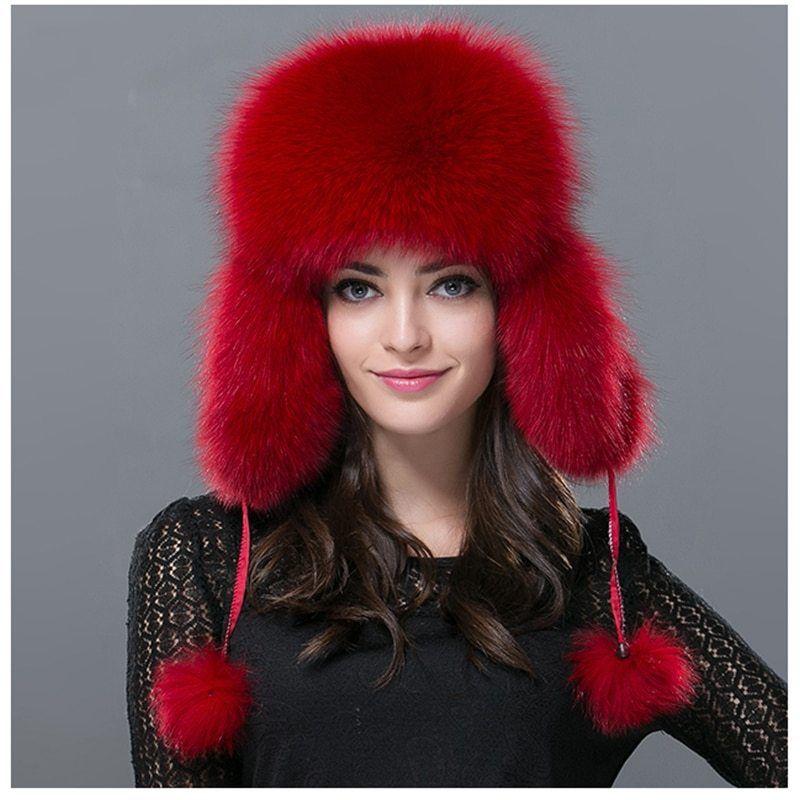 Women-Real-Fox-Fur-Hat-Winter-Russian-Warm-Fox-Fur-Leifeng-Hat -Genuine-Bomber-Solid-Warm 9200b1d538cc