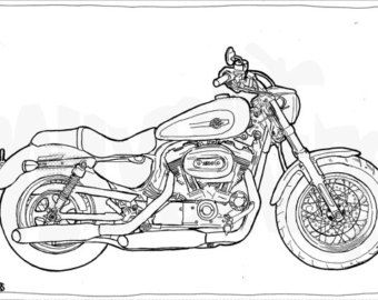 Harley Davidson Sportster 1200 Colouring Page Motorcycle