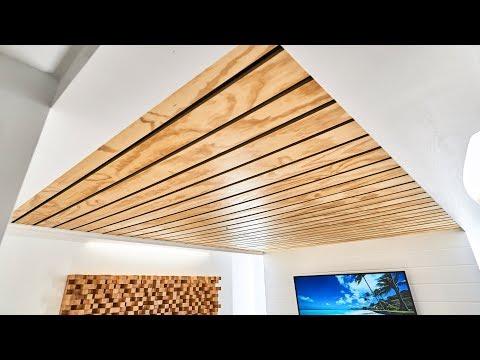 How To Make A Wood Slat Ceiling Youtube Wood Slat Ceiling Wood Slat Wall Wooden Ceilings